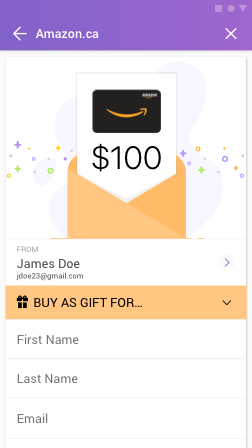 Send gift card screen